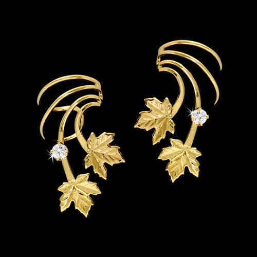 Two Maple Leaves Zirconia Gold Vermeil