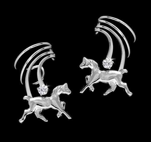 Horse Zirkonia White Gold Plated Sterling Silver