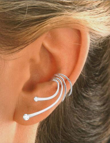 Wave Long Zirconia Sterling Silver