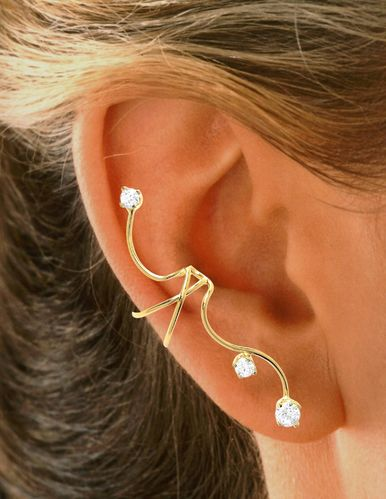 Full Ear Zirconia Gold Plated