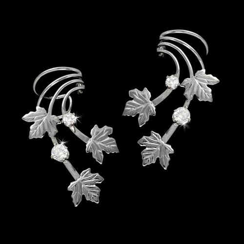 Three Maple Leaves Zirconia Sterling Silver