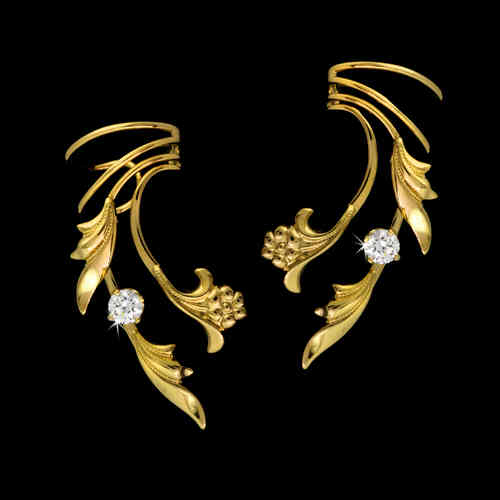 Flower & Leaf Zirconia Gold Vermeil