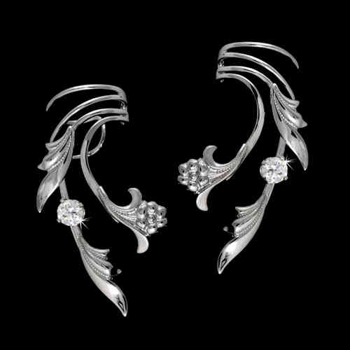 Flower & Leaf Zirconia Sterling Silver