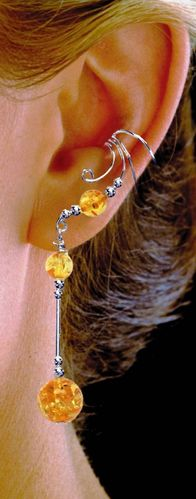 Ear Charm Sterling Silver & Amber