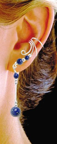 Ear Charm Sterling Silver & Blue Lapis