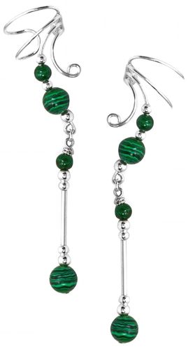 Ear Charm Sterling Silver & Malachite