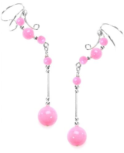 Ear Charm Sterling Silver & Pink Jade